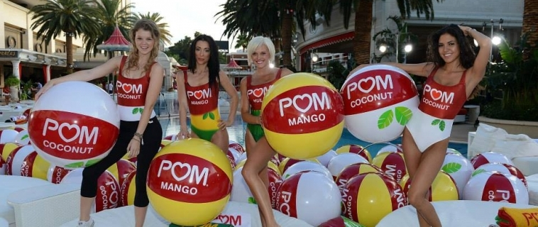 150 LVCS Promo Models Launch NEW POM-WONDERFUL Flavors & Set Longest Beach Ball Toss Guinness World Record
